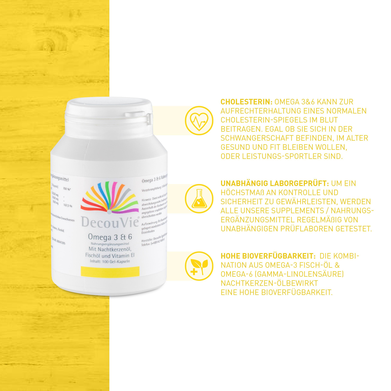 Omega 3 & 6, zur Ergänzung essentieller Fettsäuren, 100 Gel-Kapseln