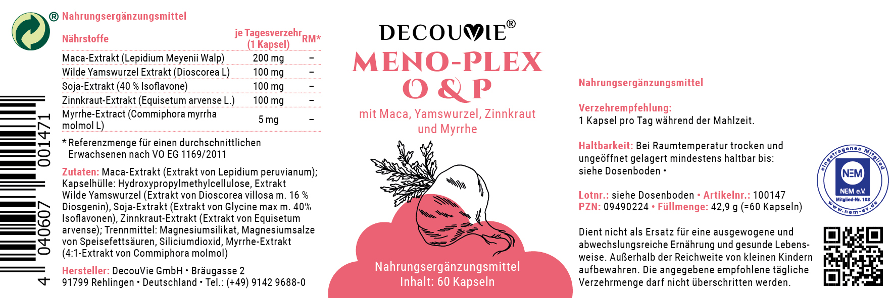 Meno-Plex O&P, zur Verminderung von Mangelerscheinungen in den beginnenden Wechseljahre, 60 Kapseln